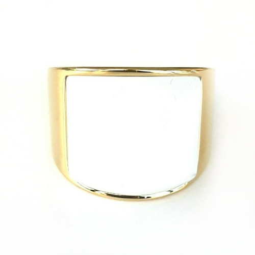 Gold over Stainless Steel White Stone Statement Ring