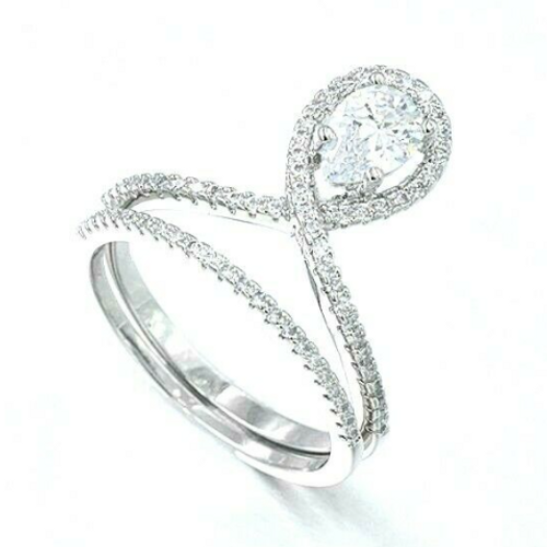 Sterling Silver 1/2 carat Pear Engagement Wedding Plus Size Ring Set
