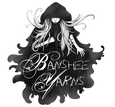 Banshee Yarns logo showing a woman in a black cloak