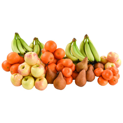 Fresh apples, pears, oranges, bananas, red and green grapes and seasonal fruit in a temperature-controlled cooler bag inside a cardboard box.