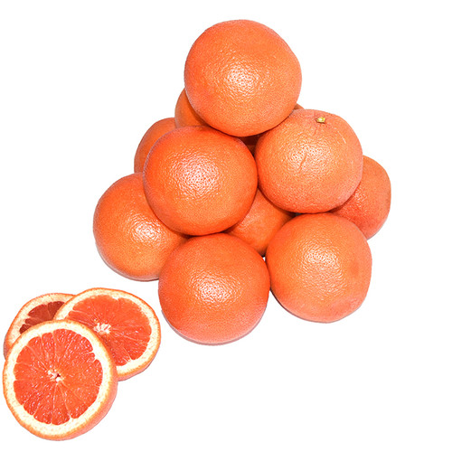12 pieces of fresh grapefruit stacked with a few slices displayed in front of the pile.
