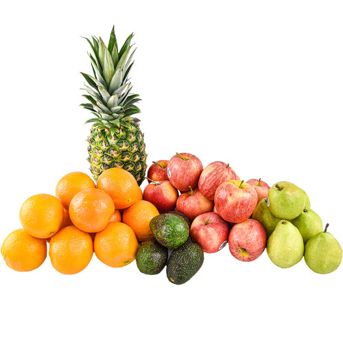 Mixed apples, avocados, oranges, pears and pineapple