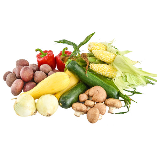 Summer vegetable grill pack with potatoes, red bell peppers, corn on the cob, zucchini, yellow squash, onions and mushrooms