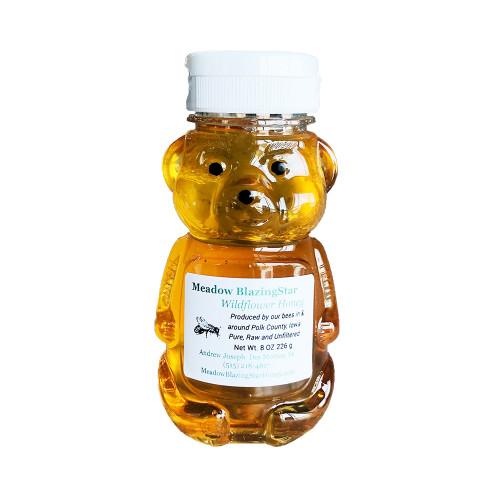 Raw, locally produced honey in a honey bear jar from Meadow BlazingStar Honey