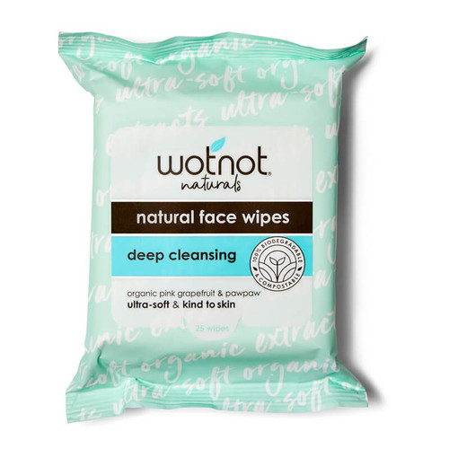 Wotnot Natural Face Wipes - Deep Cleansing 25pk