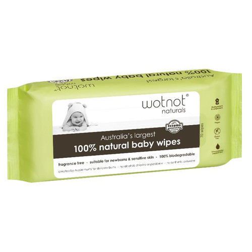Wotnot 100% Natural  & Biodegradable Baby Wipes 70 Pack