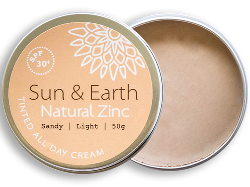 Sun & Earth Natural Zinc Tinted All Day Cream - Sandy | Light - lid off