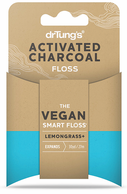 Dr Tung's Vegan Activated Charcoal Floss 27m with Lemongrass
