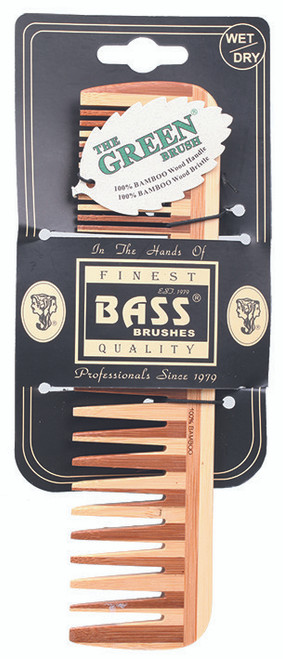 Bass Brushes Bamboo Large Comb - Wide & Fine Tooth