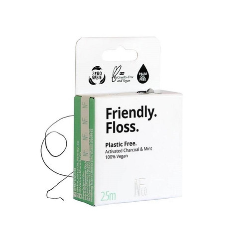 The Natural Family Co Friendly Floss - Activated Charcoal & Mint 25m