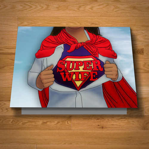 """Super Wife"" greeting card"