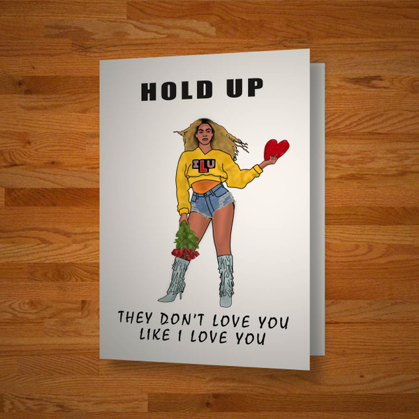 """Hold Up"" greeting card"