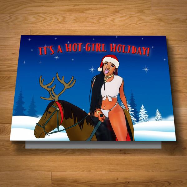 Hot Girl Holiday card