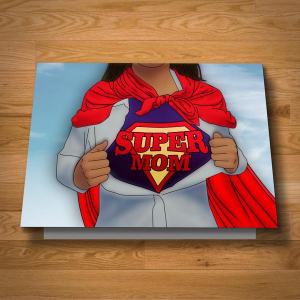 """Super Mom"" greeting card"