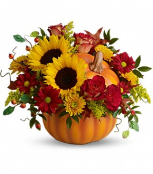Celebrate the beauty of fall in a reuseable, ceramic pumpkin..