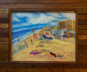Florida beach seascape pastel drawing of New Smyrna Beach