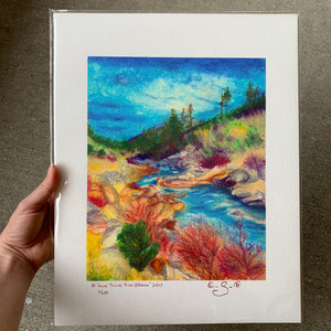 Limited edition print of pastel drawing Lake Tahoe River Stream