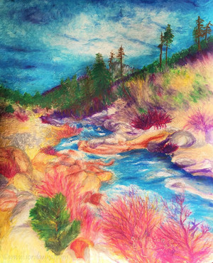 Canvas PRINT 14x11 of Lake Tahoe River Stream