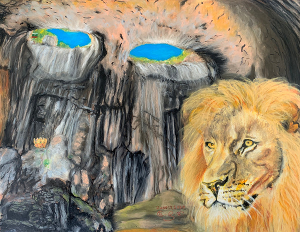 Pastel on paper drawing of a lion resting in a cave; a gold crown is laid on top of a rock formation.