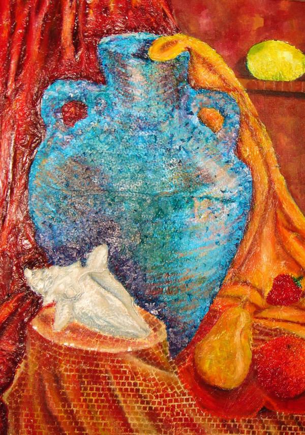 Mix media art piece of an Amphora and fruit