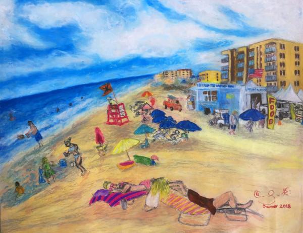 A typical summer beach day at New Smyrna Beach, FL by Flagler Avenue ramp.