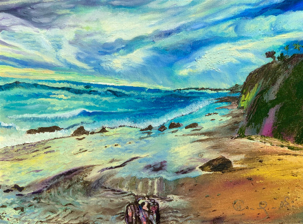 Beach oil painting unframed