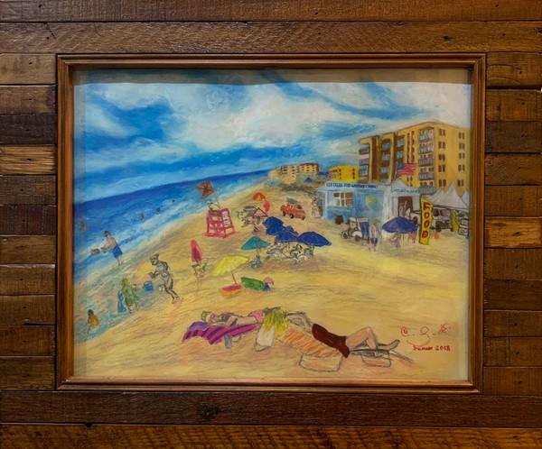 Florida beach seascape pastel drawing of New Smyrna Beach