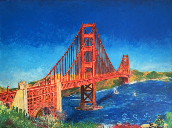 Pastel sketch of Golden Gate Bridge in San Francisco, CA
