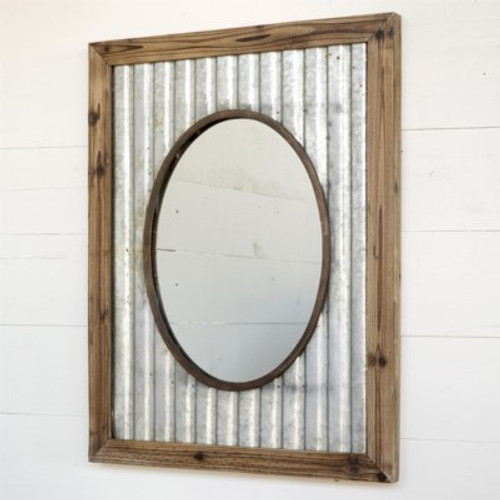Tin Roof Framed Oval Mirror