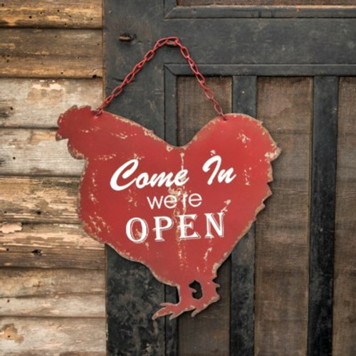 Open Closed Metal Hanging Rooster Sign