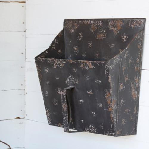 Antique Black Industrial Scoup Bin