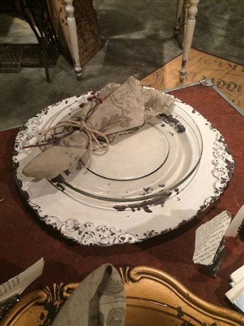 Antique White Charger Plate