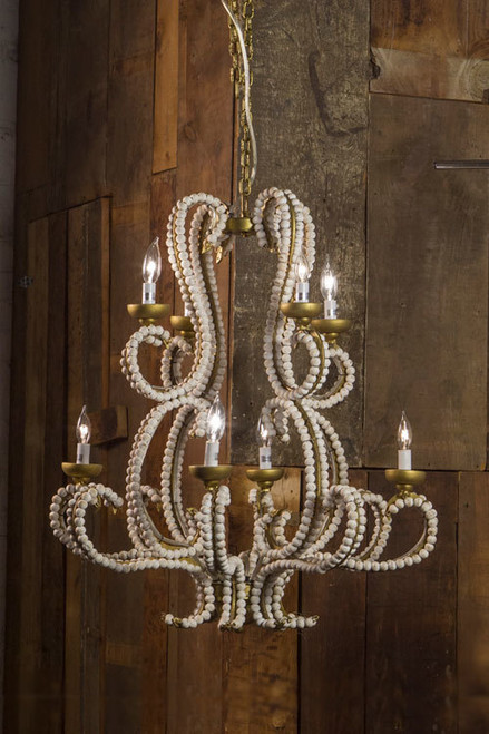 Iron Chandeliers in Gold Finish with Whitewashed Wood Beads