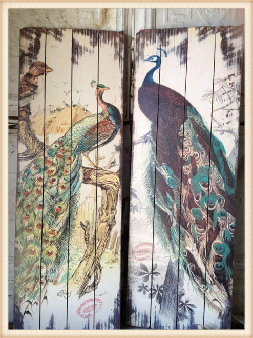 Peacock Wood Planks Wall Plaques