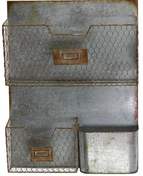 Galvanized Zinc Industrial Metal Wall File Pocket Organizer