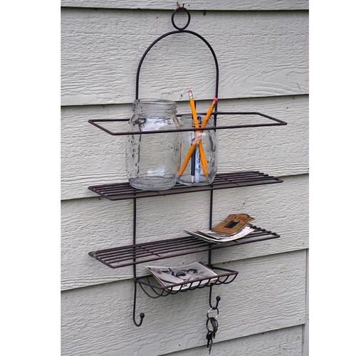 Wire Shelf Rack w/ Hooks