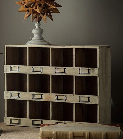 Wood Cubby Box with Metal Nameplates
