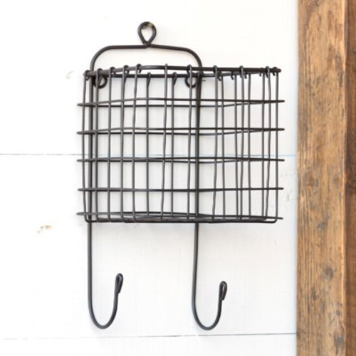 Wire Basket Organizer with Hooks