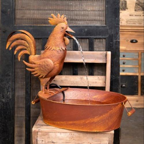 Folk Art Rooster Fountain