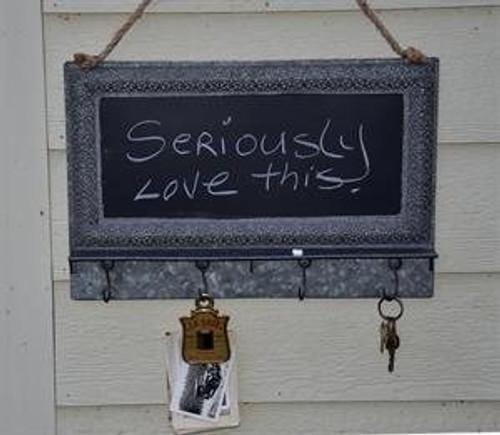 Filigree Tin Chalkboard w/ Hooks