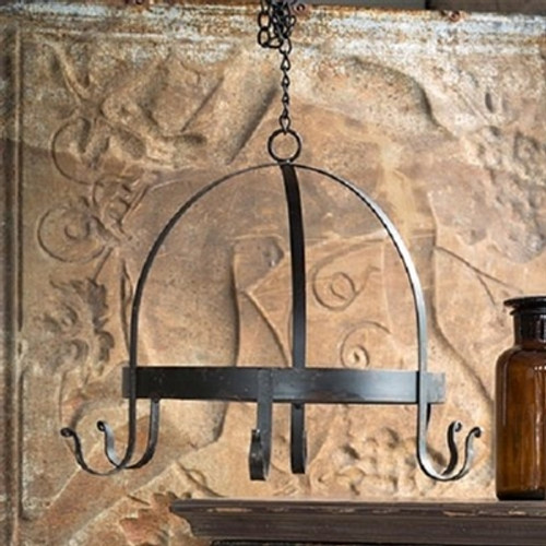 Blacksmith Wrought Iron Hanging Rack With Chain