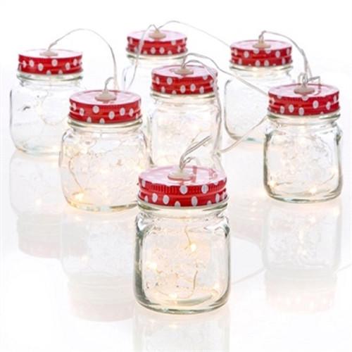 7.5' MASON JAR STRING LIGHT GARLAND Red & White