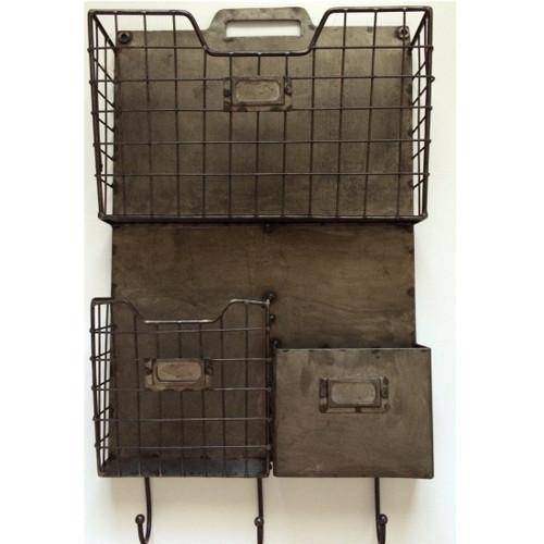 Industrial Metal Wall File Organizer w/ Hooks