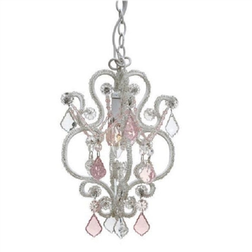 White Pink Mini Crystal Chandelier