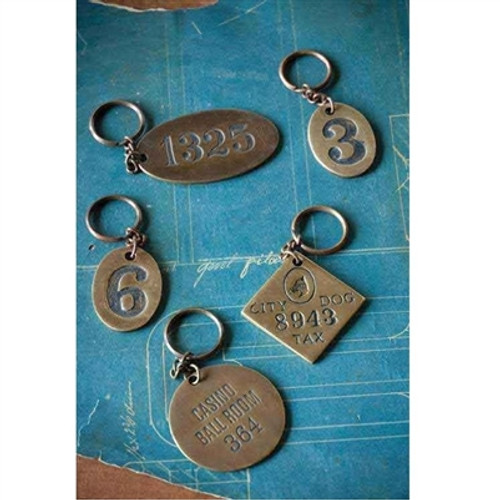 Brass Key Chain Numbers, Casino or Dog Tag