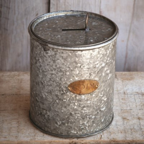 Galvanized Coin Can