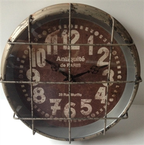 Industrial Caged Wall Clock