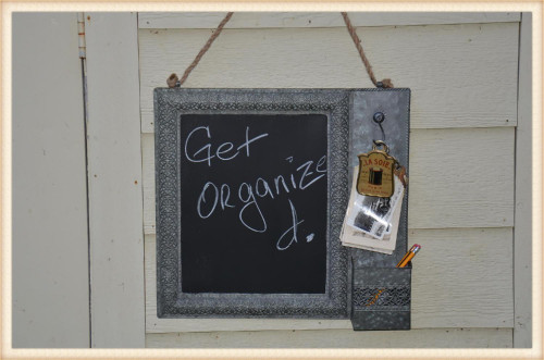 Filigree Tin Chalkboard w/Hook & Holder