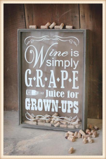 Grape Juice Wine Cork Holder Shadow Box