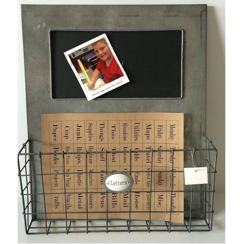 Galvanized Pocket Organizer Chalkboard